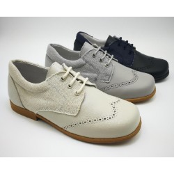 combined shoe in linen and leather