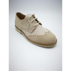 combined shoe in suede and yowas linen