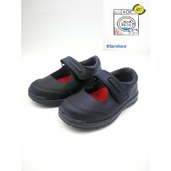 Titanitos shoe for school leather washable with reinforcement