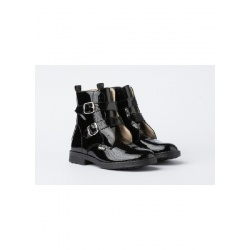 Military patent leather boot with two buckles