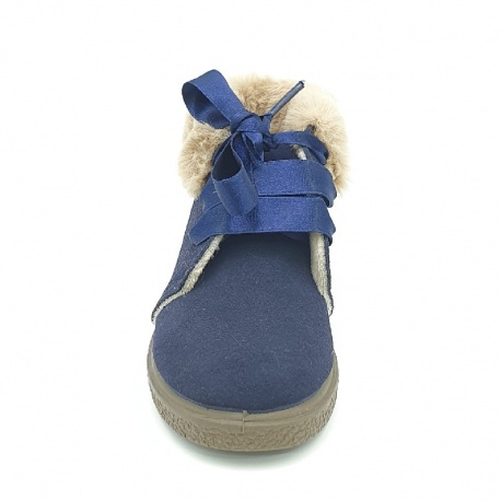 split suede bootie with fur and satin bow