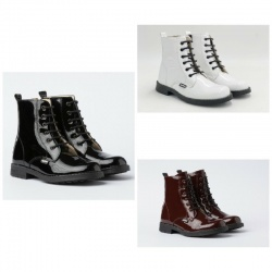 Patent leather military boot