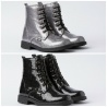 Military boots patent leather puntini